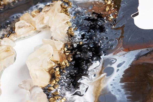 Pintura acrílica abstrata. geode art. pintura real.