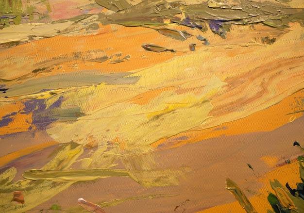 Pintura acrílica arte abstrata com cores amarelo laranja na tela cor textura pinceladas de tinta arte contemporânea arte contemporânea para design criativo