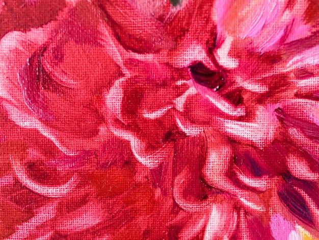 Pintura acrílica de flor vermelha de close-up