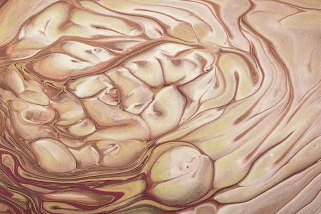 Pintura acrílica fluida abstrata de cores bege e marrom no fundo da tela