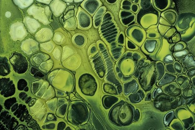 Pintura acrílica fluida em preto e verde abstrato com cores de fundo