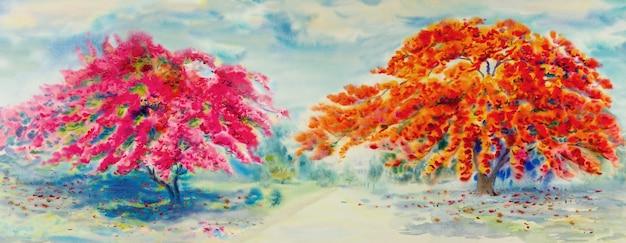 Pintura aquarela paisagem colorida de árvore de flor de pavão vermelho ou rosa na beira da estrada no meio ambiente.