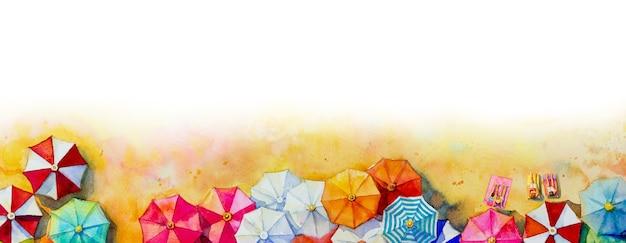 Pintura aquarela vista do mar guarda-chuva vista superior colorida de férias de amor e turismo no verão