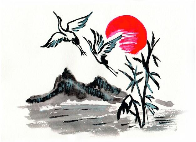 Pintura chinesa de montanhas, cegonhas e sóis