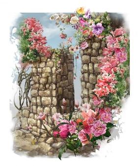 Pintura colorida da aguarela das flores abstratas.