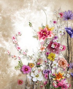 Pintura colorida das flores da arte abstracta