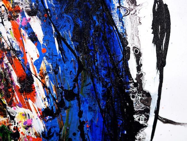 Pintura da arte abstrata em fundo de tela com textura.