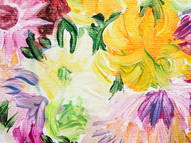 Pintura de flores coloridas feita com acrílicos