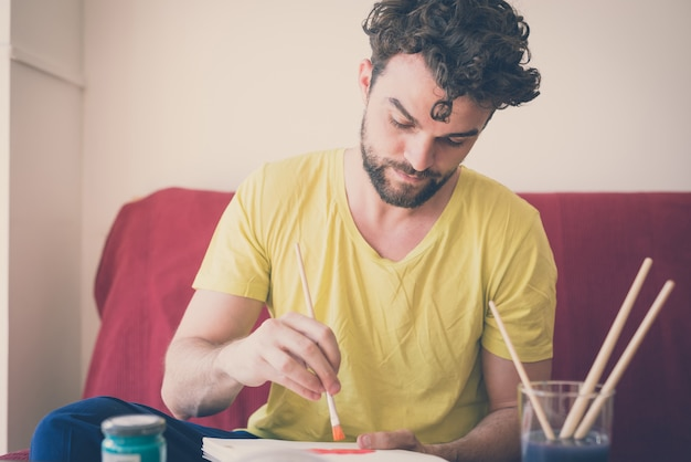 Pintura de homem moderno hipster bonito