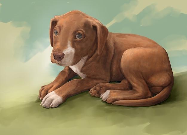 Pintura de ilustração de um cachorro