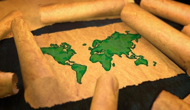 Pintura de mapa mundial em papel