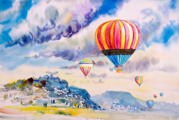 Pintura de paisagem em aquarela com balões de ar quente
