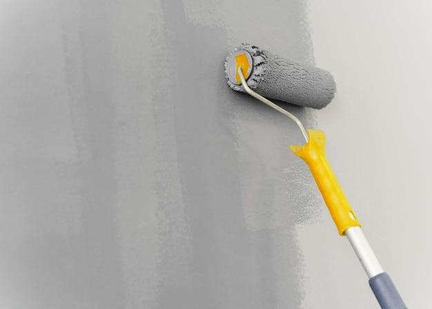 Pintura de parede com conceito de rolo