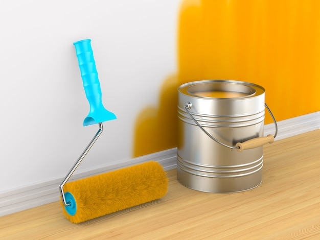 Pintura de parede. escova de rolo e lata. renderização 3d