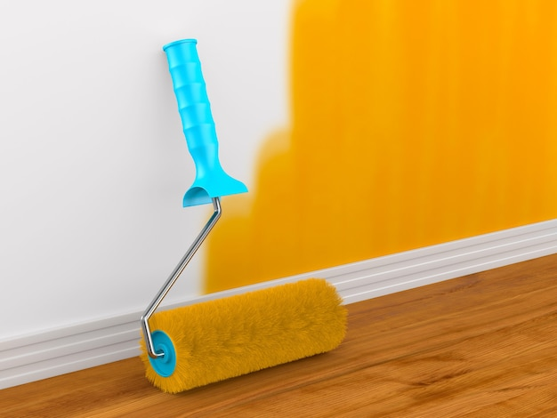 Pintura de parede. escova de rolo