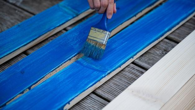 Pintura de pranchas de madeira azul