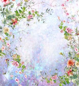 Pintura em aquarela abstrata colorida de flores multicoloridas de primavera