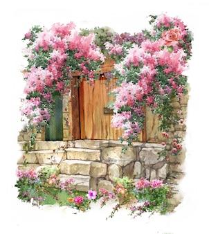 Pintura em aquarela abstrata flores coloridas. primavera com edifícios e paredes