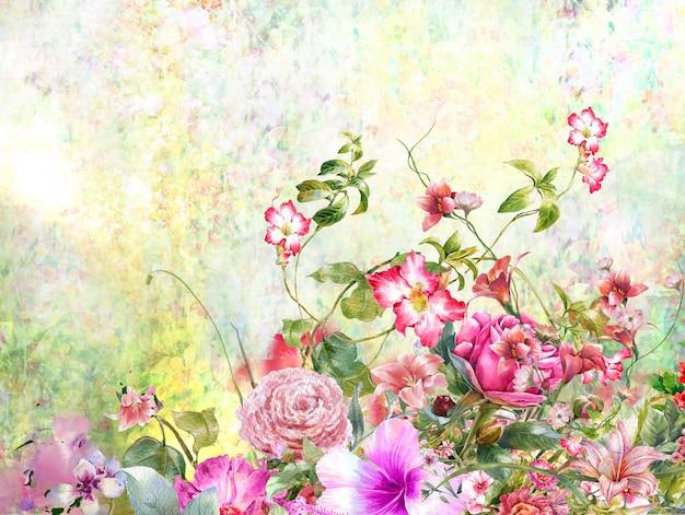 Pintura em aquarela abstrata flores coloridas. primavera multicolorida na natureza