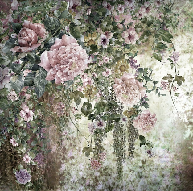 Pintura em aquarela abstrata flores coloridas. primavera multicolorida