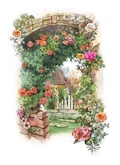 Pintura em aquarela abstrata flores coloridas