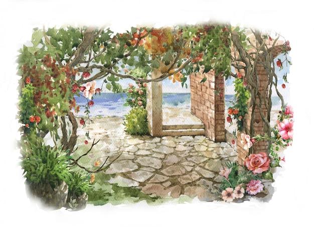 Pintura em aquarela abstrata flores coloridas.