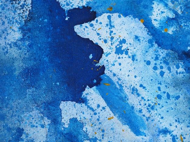 Pintura em aquarela azul textura abstrata.