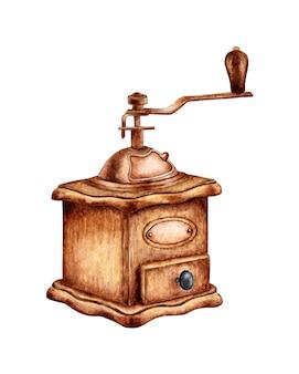 Pintura em aquarela clássico moedor de café vintage moinho de café manual de madeira logotipo do moinho de café