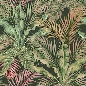 Pintura em aquarela colorida de folhas de palmeira tropical sem costura de fundo.