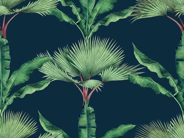 Pintura em aquarela com folhas verdes tropicais sem costura de fundo