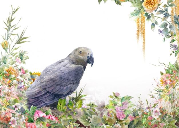 Pintura em aquarela com pássaros e flores, em fundo branco