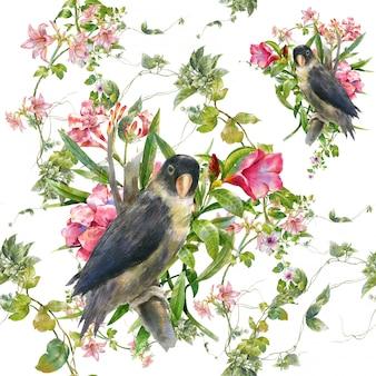 Pintura em aquarela com pássaros e flores, sem costura padrão em branco