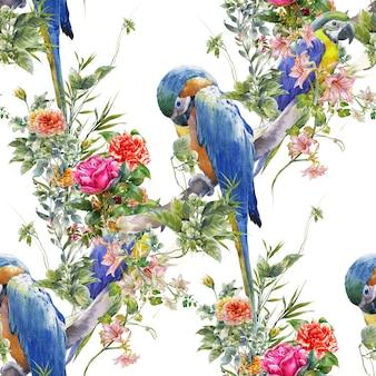 Pintura em aquarela com pássaros e flores sem costura padrão no fundo branco