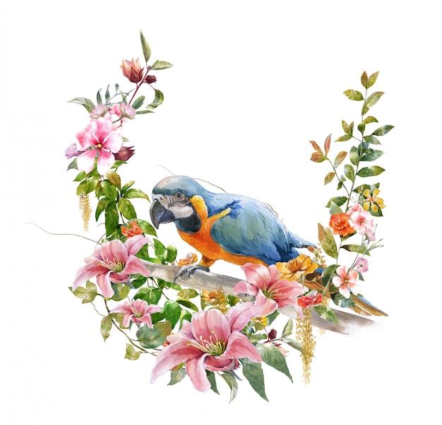 Pintura em aquarela com pássaros e flores