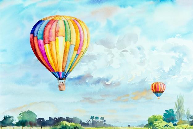 Pintura em aquarela de balões de ar quente no céu