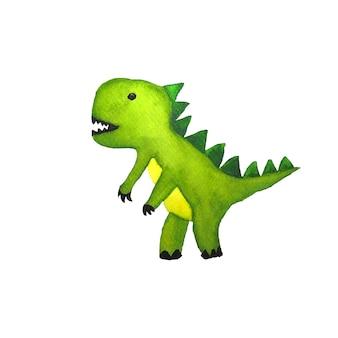 Pintura em aquarela de dinossauro verde com traçado de recorte