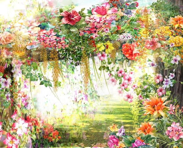 Pintura em aquarela de flores abstratas.