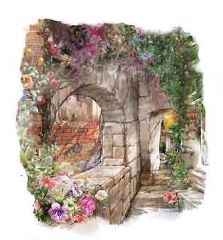 Pintura em aquarela de flores coloridas abstratas. primavera com edifícios e paredes
