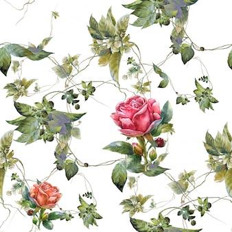 Pintura em aquarela de flores, rosa, sem costura padrão em branco