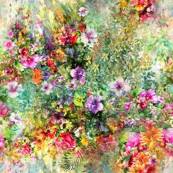 Pintura em aquarela de folha e flores, padrão sem emenda