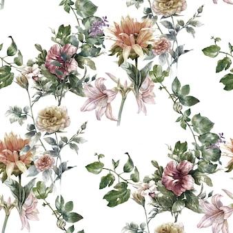 Pintura em aquarela de folha e flores, sem costura padrão em branco