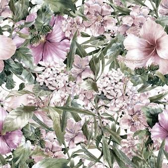 Pintura em aquarela de folha e flores sem costura padrão em branco