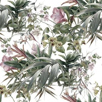 Pintura em aquarela de folha e flores, sem costura padrão no fundo branco