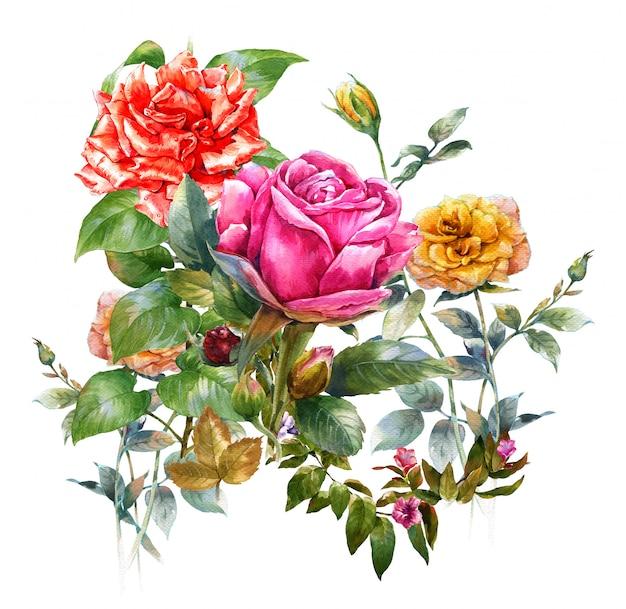 Pintura em aquarela de folhas e flor rosa em branco