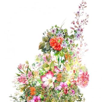 Pintura em aquarela de folhas e flores, em fundo branco