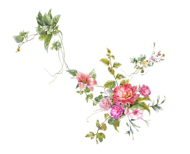 Pintura em aquarela de folhas e flores em fundo branco