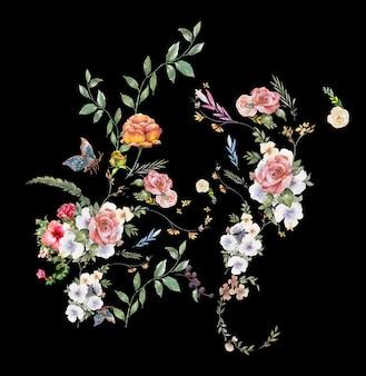 Pintura em aquarela de folhas e flores, em fundo escuro