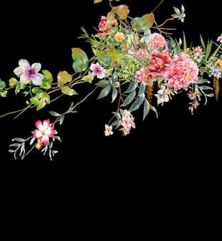 Pintura em aquarela de folhas e flores, no escuro