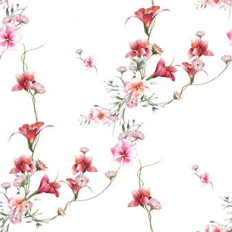 Pintura em aquarela de folhas e flores, padrão uniforme em fundo branco