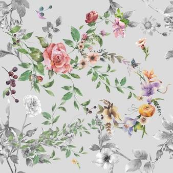 Pintura em aquarela de folhas e flores, padrão uniforme em fundo cinza